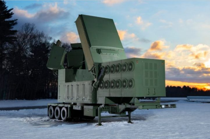 A full-scale mock-up of Raytheon Technologies' Lower Tier Air and Missile Defense Sensor (LTAMDS). Programme officials have selected Orolia Defense & Security to support PNT capabilities for the platform (Raytheon)