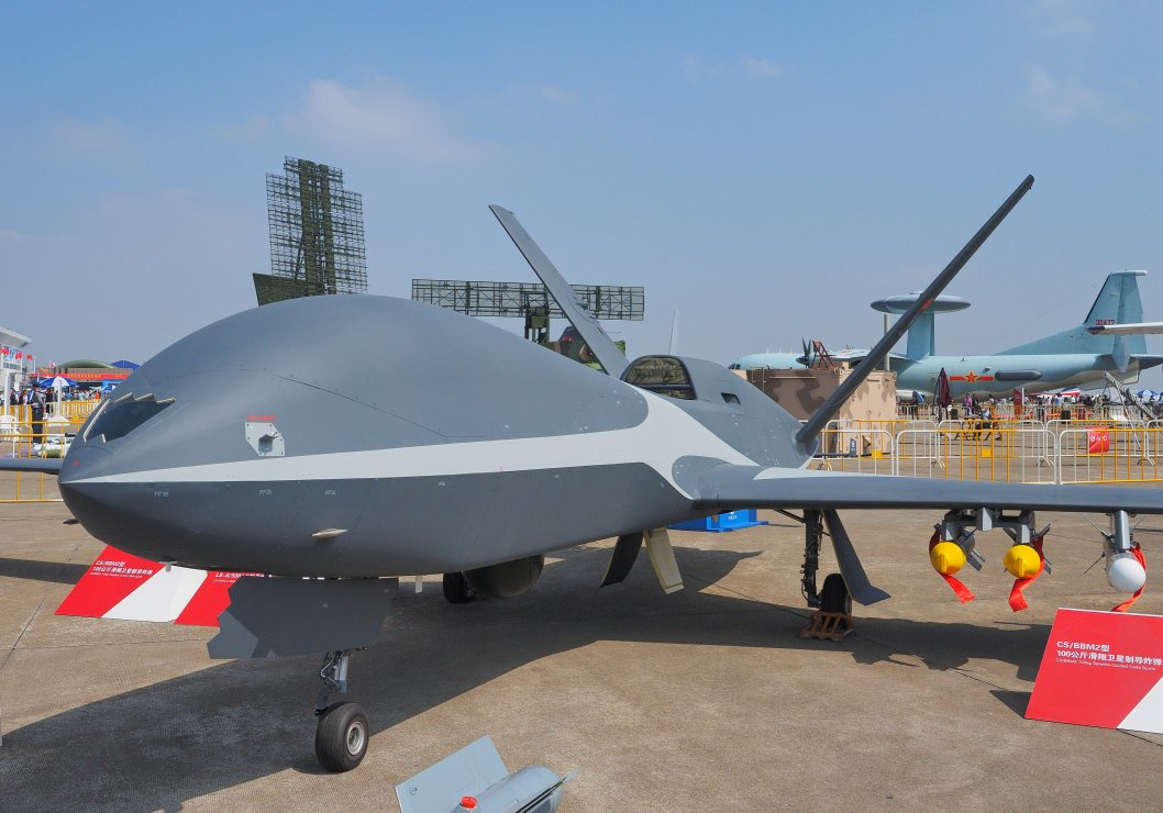 An armed reconnaissance variant of the Cloud Shadow UAV seen at Airshow China 2018. Unlike the Wind Shadow, the export-oriented Cloud Shadow is equipped with a single WP-11C turbojet engine. (Janes/Kelvin Wong)