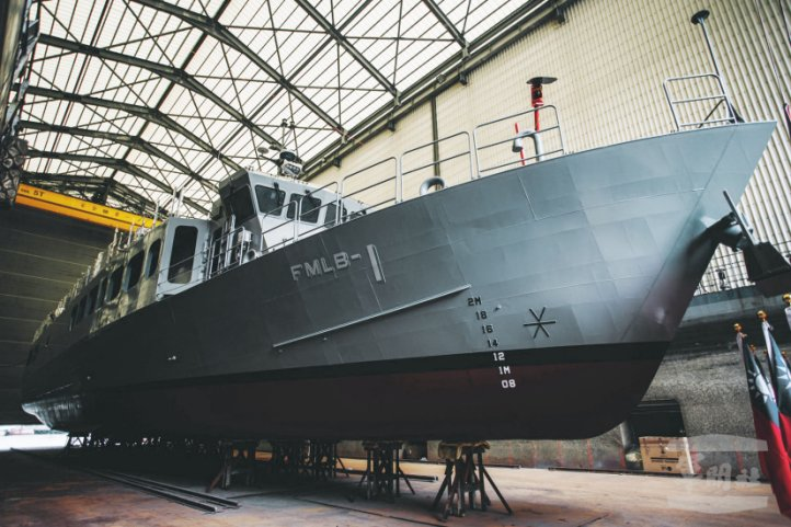 Taiwan's Lungteh Shipbuilding launched the first of four fast mine-laying ships being built for the RoCN on 4 August. (RoC Military News Agency)