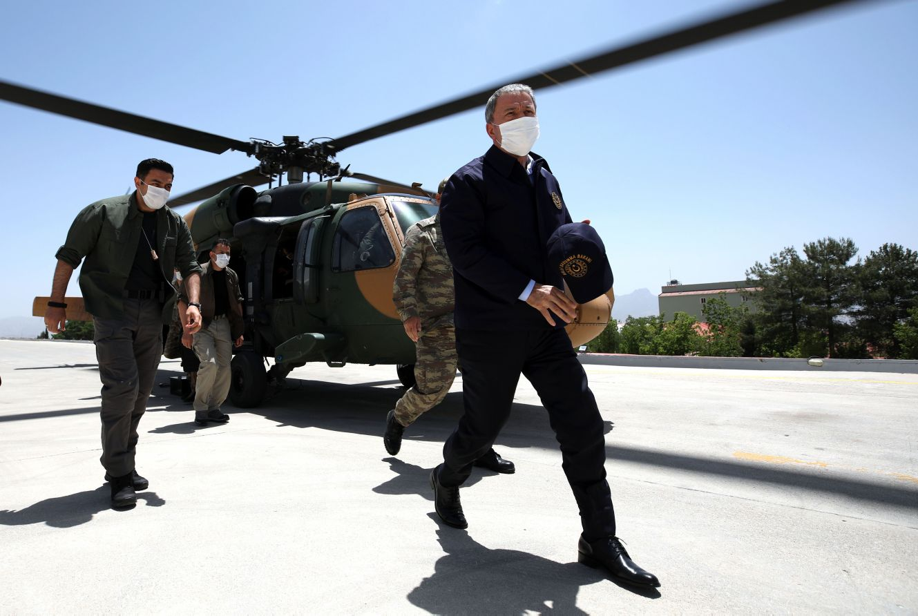 Turkish Minister of National Defence Hulusi Akar arrives at the Operation 'Claw Tiger' Army Command Control Centre to inspect border units and to meet military officers in Şırnak, Turkey, on 19 June 2020. The PKK in northern Iraq is under pressure on multiple fronts. (Arif Akdogan/Anadolu Agency via Getty Images)