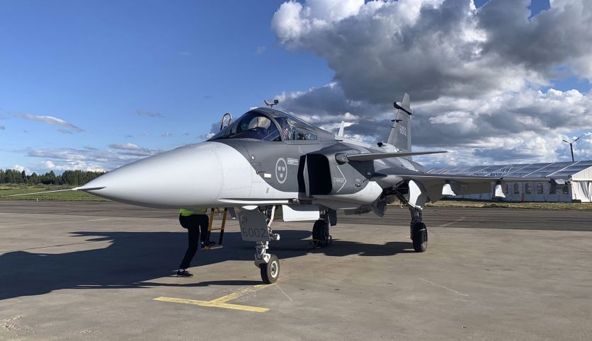 Saab's offering of the Gripen E, seen here at the Kauhava Air Show, is seeing a broad-based industrial and security package being offered to Finland. (Saab AB/Twitter)