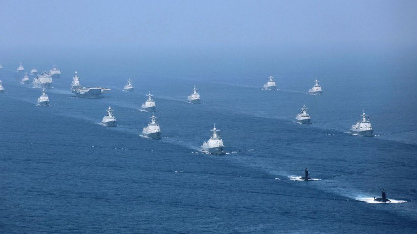 Some of almost 50 ships assembled for a PLAN fleet review held in April 2018. The Pentagon said in a 1 September report that the PLAN is now the world's largest navy. (Via Xinhua News Agency)