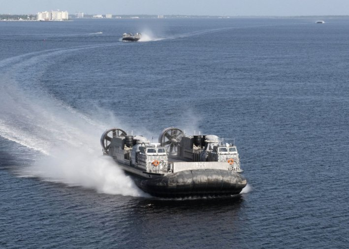 LCAC 100 (foreground) and LCAC 101 arrived at Naval Surface Warfare Center Panama City Division on 2 September. (Ron Newsome/US Navy)