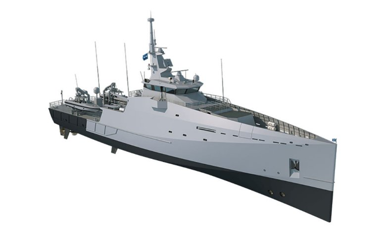A computer-generated image of Damen's Stan Patrol 6211 concept. The Royal Malaysian Navy is considering a 68 m variant of this concept, known as the Stan Patrol 6811, as a contender for the Littoral Mission Ship Batch 2 project. (Damen)