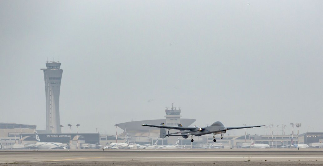A Heron UAV landing at Ben Gurion International Airport on 16 September, marking a first for unmanned operations. (IAI)