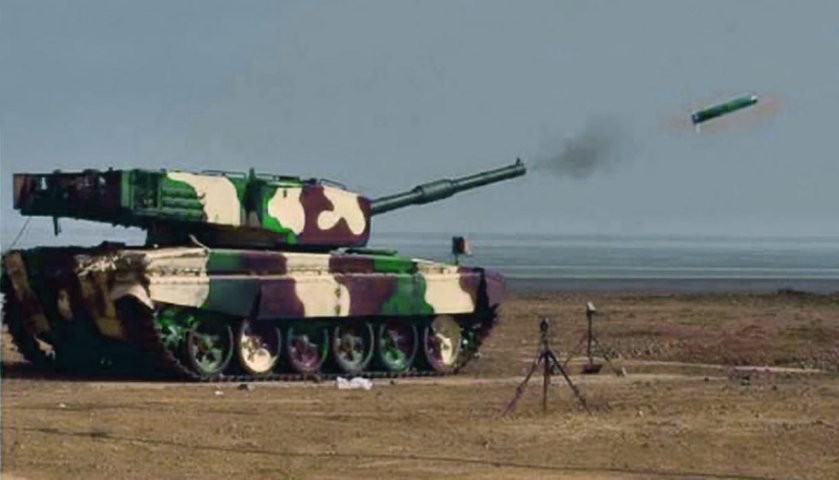 An Arjun MBT is seen here test-firing a locally developed laser-guided anti-tank missile at a firing range in Ahmednagar, western India. (DRDO)