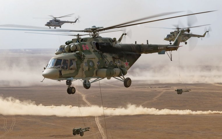 The VDV operated Mi-8 utility helicopters to carry D-30 122 mm towed howitzers during 'Kavkaz 2020'.  (Russian MoD)