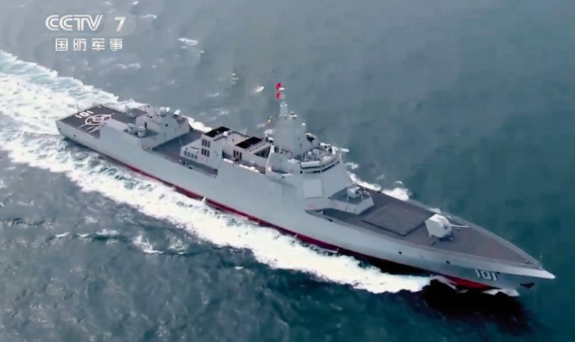 A screengrab from CCTV 7 video footage released on 6 October showing          Nanchang         , the People's Liberation Army Navy's first Type 055-class destroyer.        (CCTV)