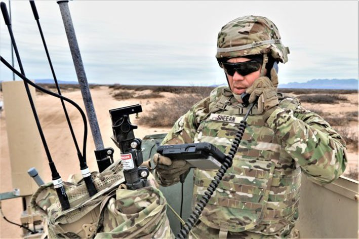 A US Army soldier conducts field tests of a prototype networked communication system in February 2019 at Fort Bliss, Texas. Army leaders are exploring use of commercial broadband technologies to support LEO satellite communication operations (US Army )