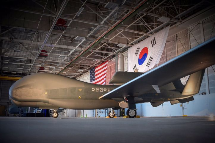 An image released on 19 April by US Ambassador to South Korea Harry Harris showing the first and second RQ-4 Global Hawk UAVs received by the RoKAF. (US government/Via US Ambassador Harry Harris Twitter account)