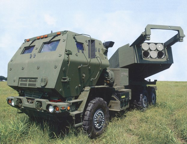 Latest version of HIMARS on a 6×6 FMTV chassis with fully-protected cab and launcher with pod of six rockets traversed to the left. The US State Department approved on 21 October the potential sale to Taiwan of 11 M142 HIMARS launchers and related equipment.  (Lockheed Martin Missiles and Fire Control)