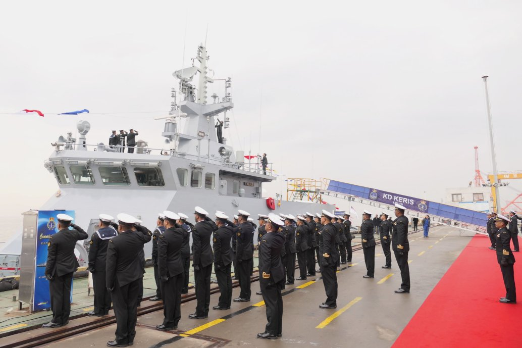 KD          Keris         , seen here at its commissioning ceremony on 6 January 2020 in China.        (Royal Malaysian Navy)