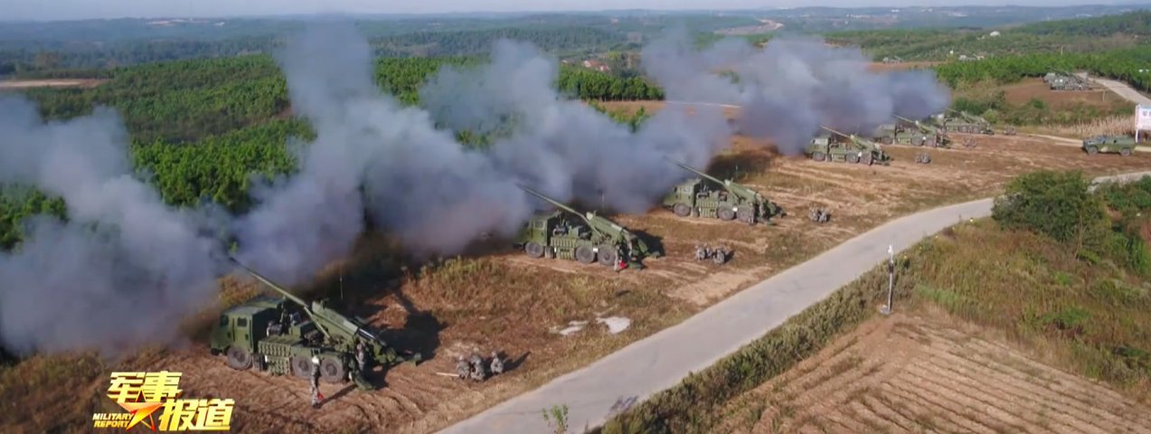 CCTV footage released on 19 October showing several PCL-181 SPHs operated by an artillery brigade under the PLAGF's 72nd Group Army taking part in a live-firing exercise in China's eastern Anhui Province.  (CCTV)