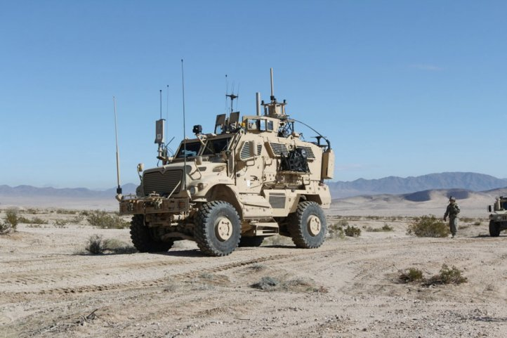 An Electronic Warfare Tactical Vehicle supports a training rotation for the 3rd Brigade Combat Team, 1st Cavalry Division at the National Training Center in Fort Irwin, California. (US Department of Defense )