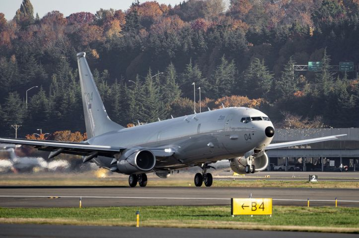 The fourth of nine Boeing P-8A Poseidon MRA1 maritime multimission aircraft (MMA) for the Royal Air Force departs from Boeing Field in the United States for the United Kingdom on 3 November 2020. (Boeing)