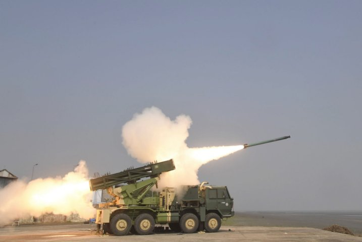 India's DRDO tested on 4 November an enhanced version of the MK I rocket used by the Pinaka MRL. (DRDO)