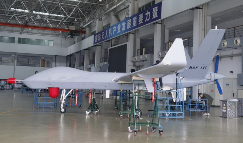 One of two Wing Loong II unmanned aircraft that Nigeria has acquired from China, a senior Nigerian Air Force official disclosed on 10 November. (Director of Public Relations and Information Headquarters Nigerian Air Force via Twitter)