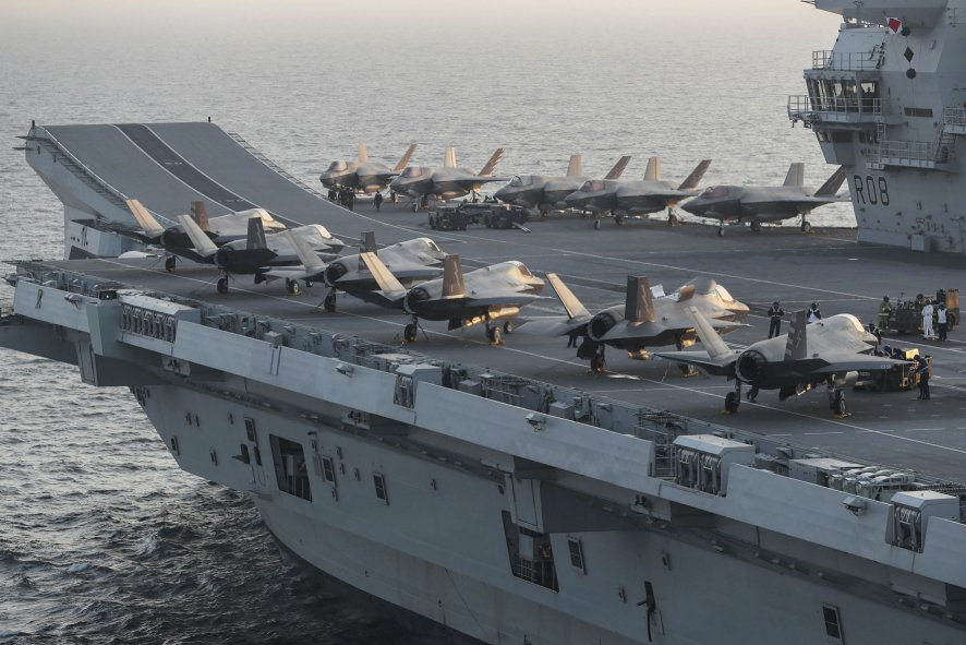 Seen aboard HMS          Queen Elizabeth          during recent joint UK-US Marine Corps training exercises, the F-35B is the subject of concern for the House of Commons Public Accounts Committee in its latest report on Carrier Strike.        (Crown Copyright)