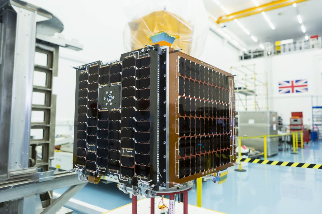 The UK's Carbonite 2 satellite seen here at the facilities of joint developer Surrey Satellite Technology Ltd. Carbonite 2 is the UK's first low-Earth orbit high-definition imagery and video satellite, and is an example of the country's space capabilities that must be defended against malign actors and hostile nations. (Crown Copyright)