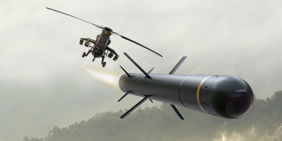 Artist's impression of an MHT missile fired from a Tiger attack helicopter. The image might not be completely representative because the seeker assembly does not indicate an additional channel for laser-designated targeting. (MBDA)