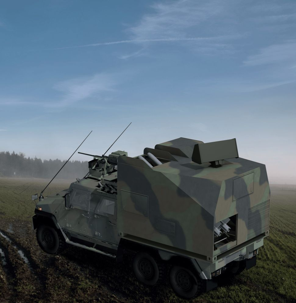 The current selected carrier platform for the IRIS-T-SLS Mk III is the General Dynamics European Land Systems Eagle V 6×6 variant wheeled armoured vehicle (shown here in a computer generated image). (Diehl Defence)