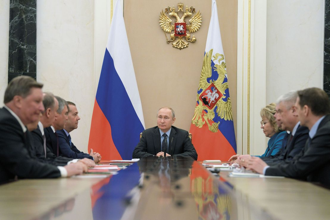 Russian President Vladimir Putin chairs a meeting with members of the Security Council at the Kremlin in Moscow on 5 April 2019. The remit and power of the Security Council have expanded since 2011. (Alexei Druzhinin/AFP via Getty Images)