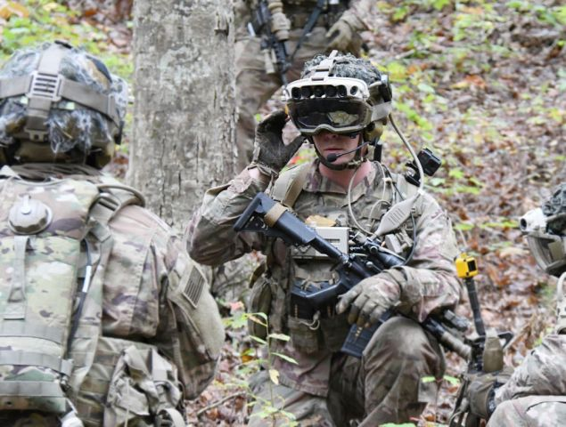 Soldiers from the 82nd Airborne Division used the latest IVAS prototype during a training exercise in October at Fort Pickett, Virginia. Lawmakers want to cut programme funding next year and gather additional information about the technology. (US Army)