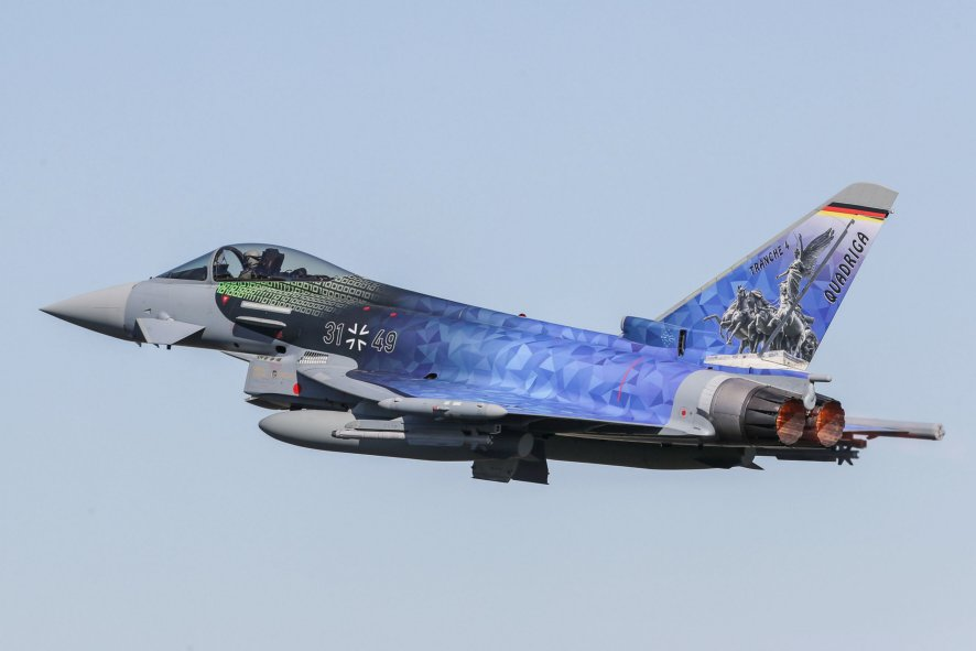 Speaking at the company's annual TMB, Airbus noted that it is to offer a Tranche 5 standard of the Eurofighter for Germany's Tornado replacement programme. This standard will comprise the latest Tranche 4 (pictured) with additional LTE improvements. (Airbus)