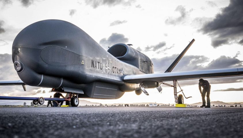 The NATO AGS capability is built around five RQ-4D Phoenix UAVs and associated ground equipment at Sigonella, Italy. (NATO)