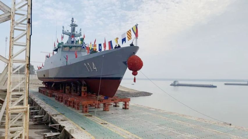 China's Wuchang Shipbuilding Industry Group on 16 December launched the fourth and final Keris-class LMS on order for the RMN at the company's facilities in Wuhan. (RMN)