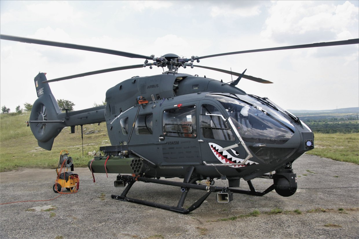 A company-owned H145M demonstrator that has been equipped with the HForce GWS currently being retrofitted to Hungary's fleet of 20 helicopters. (Janes/Gareth Jennings)