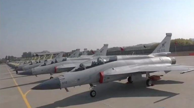 PAC Kamra rolled out the final 14 JF-17B fighter aircraft on order for the PAF in a ceremony held on 30 December at the company's facility in Punjab.  (Pakistan Air Force )