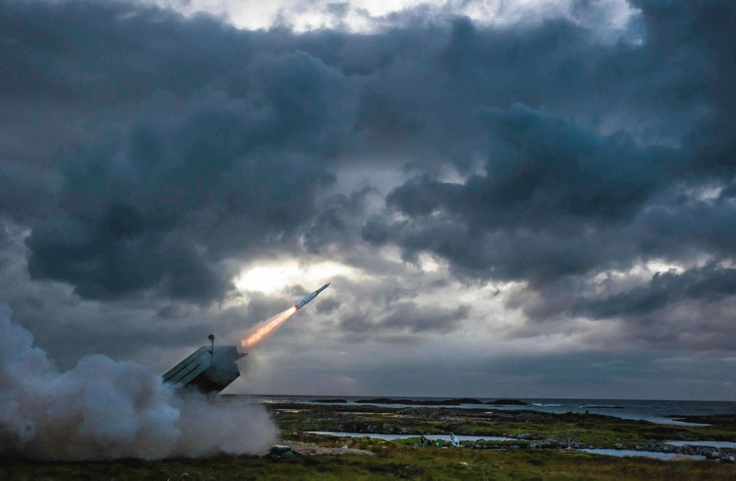 "A baseline AMRAAM-ER surface-to-air interceptor is fired from a NASAMS launcher at the Andøya Test Center, Norway, in August 2016. Raytheon described the shot as ""more of a 'concept demonstration' rather than a flight test"" (Raytheon Technologies)"