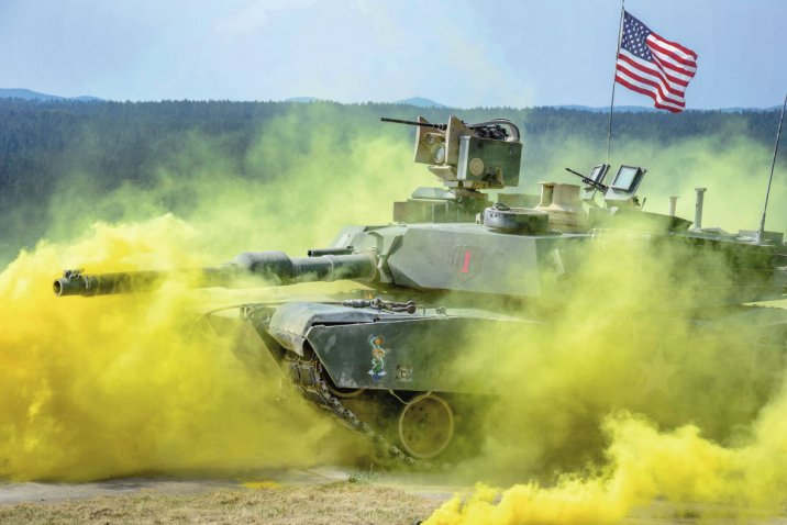 US soldiers in an M1 Abrams tank compete in the Strong Europe Tank Challenge at the Grafenwoehr training area in Germany in June 2018. Rafael recently delivered the final Trophy APS to the US Army for integration on its Abrams fleet. (US Army )