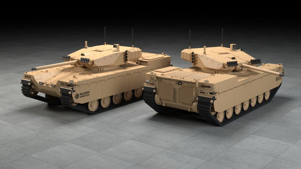 The Type-X RCV is approximately three to four times lighter than a conventional IFV.  (Milrem Robotics)