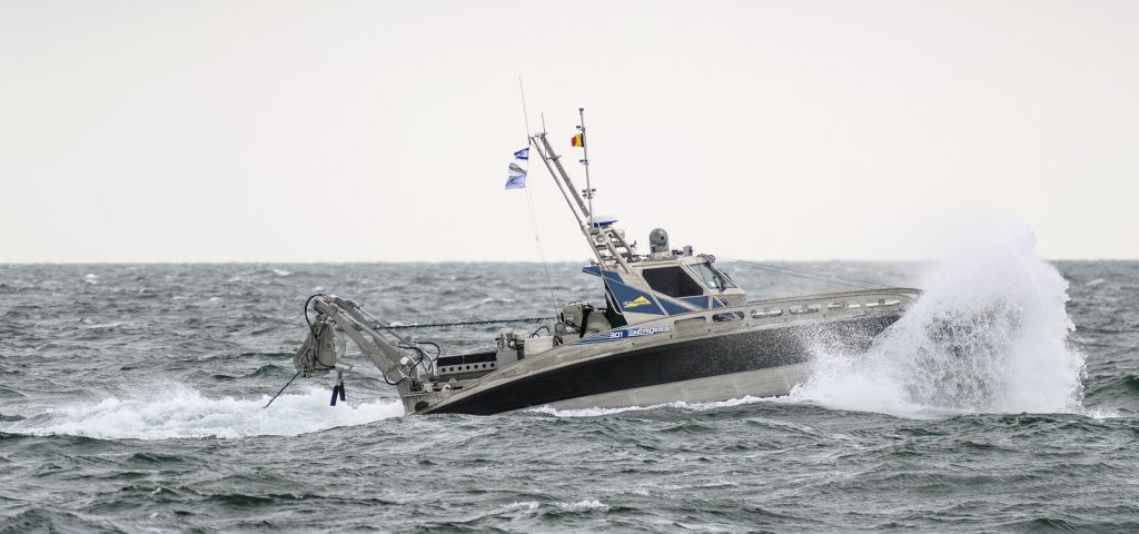 A Seagull USV performing an end-to-end MCM demonstration in 2017 as part of the Belgian Navy's North Sea unmanned MCM trials. Manufacturer Elbit Systems announced on 13 January that it had secured a contract to supply Seagull USVs to an undisclosed navy in the Asia-Pacific region. (Elbit Systems)