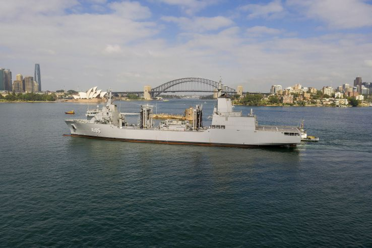 The RAN's future AOR vessel,          Supply         , arrived for the first time at Fleet Base East in Sydney, New South Wales, on 15 January.        (Commonwealth of Australia/Department of Defence)