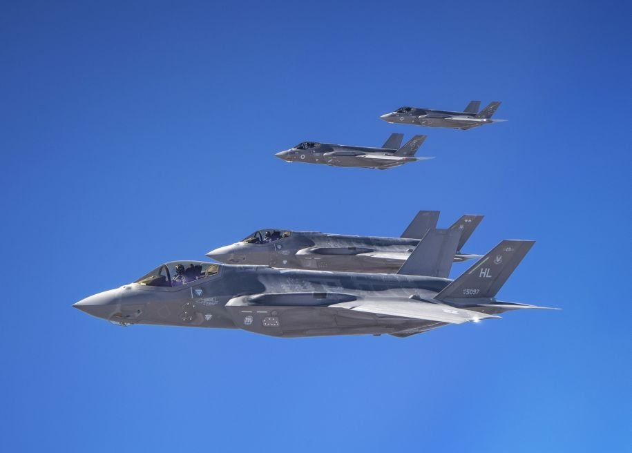 In a rare example of training with CENTCOM forces, Israeli F-35Is alongside F-35As from the US Air Force's Abu Dhabi-based 421st Expeditionary Fighter Squadron during Exercise 'Enduring Lightning' on 22 October 2020. (US Air Force)
