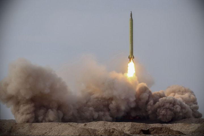 An Iranian Ghadr medium-range ballistic missile is launched during Exercise 'Great Prophet 15'. (Islamic Revolution Guards Corps)