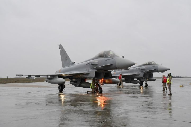 Spanish Eurofighters arrive at Mihail Koglaniceanu Air Base, Romania, on 25 January. They will fly through to the end of March in support of NATO's Southern Air Policing mission. NATO Allied Air Command.