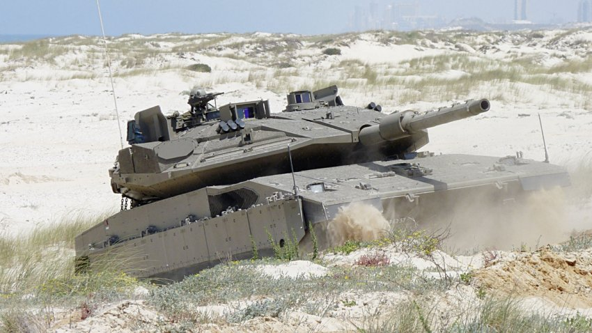 An Israel Defense Forces Merkava Mk 4 fitted with the Trophy–HV APS suite, which provides 360° defence against ATGM and RPG threats. Users are keen for APS manufacturers to upgrade systems to defeat of APFSDS long rod penetrators.  (Rafael Advanced Defense Systems)