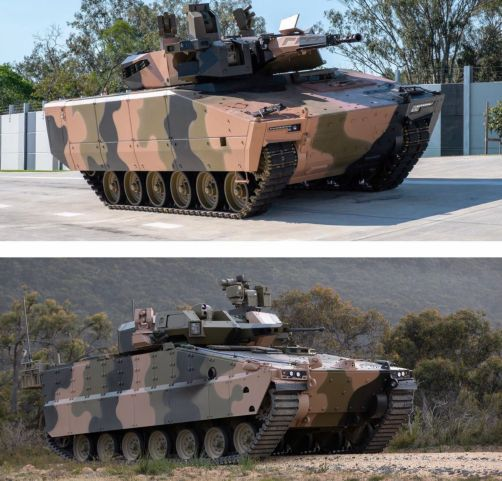 The Australian DoD announced on 13 February that it had received three Lynx KF41 (top) and three Hanwha Defense Redback (bottom) IFV prototypes that will compete in test and evaluation trials as part of RMAs under the Australian Army's Land 400 Phase 3 programme.  (Via Australian DoD)