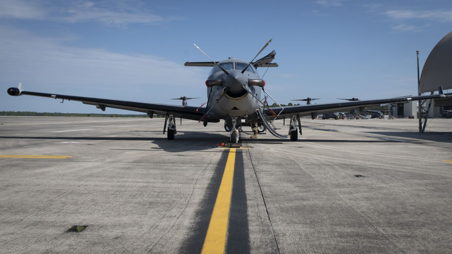 A U-28A assigned to the 319th Special Operations Squadron parked on the flight line at Hurlburt Field, Florida, on 12 August 2020. The aircraft, a modified Pilatus PC-12 turboprop utility aircraft, has reached 600,000 flight hours in USAF service. (US Air Force)