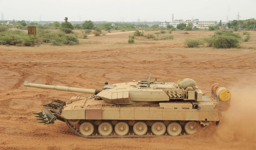 This image shows the Arjun Mk 2 MBT, which is currently under development. India's MoD approved on 23 February the procurement of 118 units of the Mk 1A variant, which is an interim step between this and the original Mk 1. It is understood that the Mk 1A incorporates some of the Mk 2 improvements, including mine ploughs and additional explosive reactive armour. (DRDO)