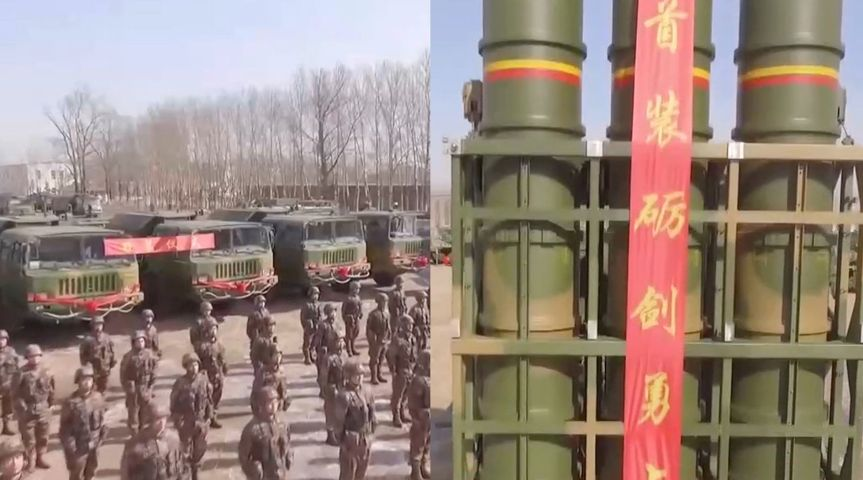 A screengrab from CCTV footage released on 28 February showing that an air-defence brigade with the PLA's 78th Group Army recently received HQ-16 SAM systems.  (Via CCTV )