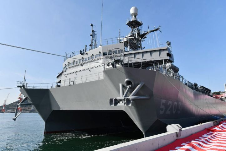 The JMSDF commissioned         Aki         , its third Hibiki-class ocean surveillance ship, in a ceremony held on 4 March in Tamano City, southern Okayama Prefecture.        (JMSDF)