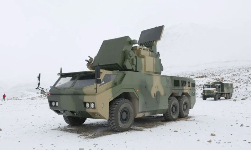 China has cleared the HQ-17AE self-propelled SHORAD system (foreground) for export, according to a 7 March report by the state-owned