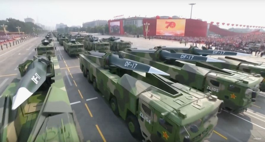 "Chinese DF-17 ballistic missiles during a military parade held in Beijing on 1 October 2019. USINDOPACOM chief Adm Philip Davidson said on 9 March that the military balance in the Indo-Pacific region is ""becoming more unfavourable to the United States"". (Via CGTN video footage)"