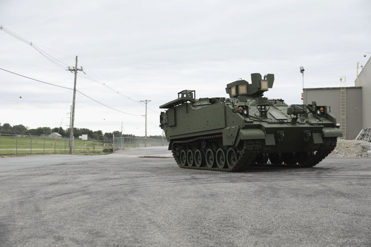 BAE Systems delivered its first AMPV to the US Army in August 2020. The vehicle, shown here, is a mission command variant.  (BAE Systems)
