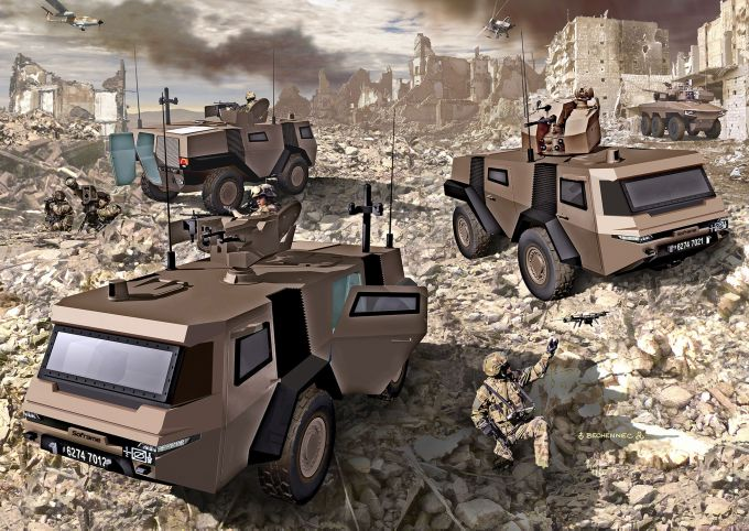 An artistic rendering of the MOSAIC 4×4 reconnaissance vehicle with various weapon systems. (Soframe)